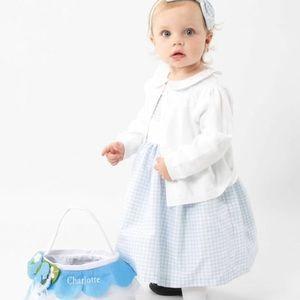 Girls Dress Gymboree Blue White Gingham & Sweater